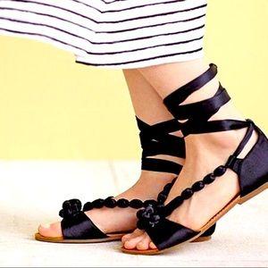 Anthropologie Billy Ella Satin Beaded Sandals